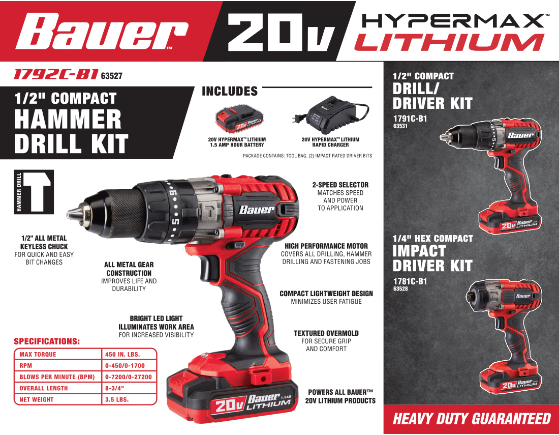 New Items - Bauer Hammer Drill Kit