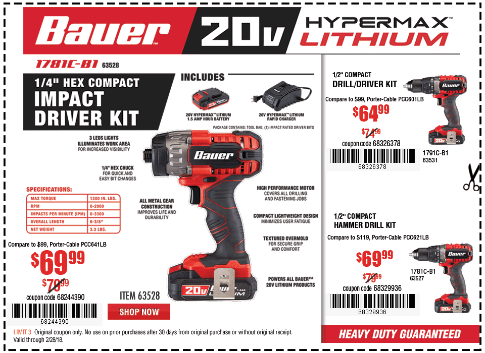 New Items - 20V Hypermax™ Lithium 1/4 in. Hex Compact Impact Driver Kit