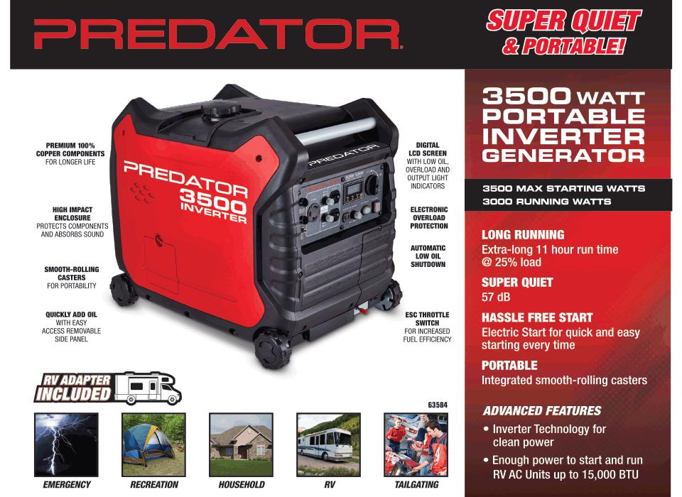 New Items - 3500 Watt Super Quiet Inverter Generator