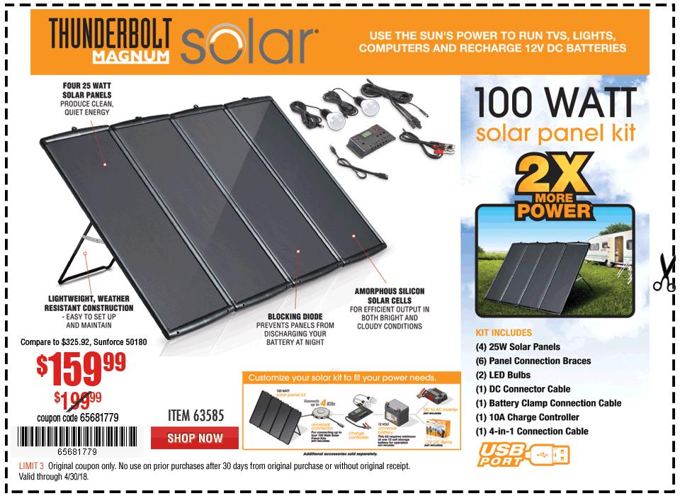 New Items - 100 Watt Solar Panel Kit