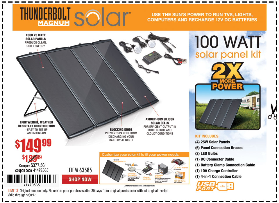 New Items - 100 Watt Solar Panel Kit