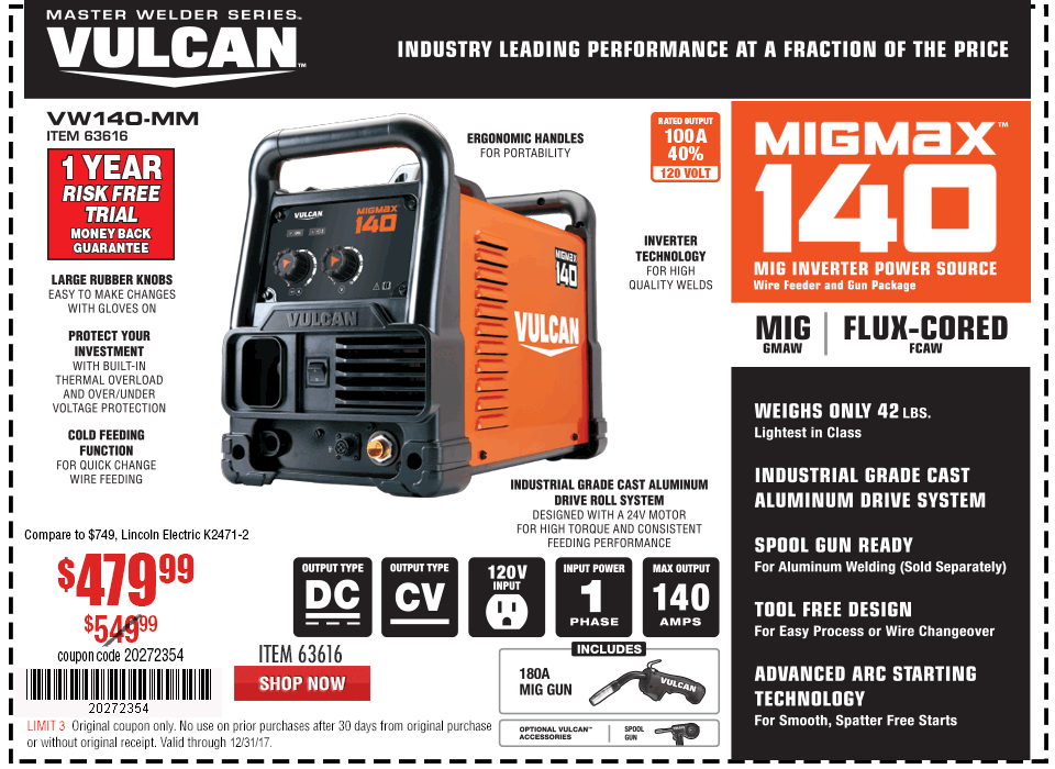 New Items - MIGMax™ 140 Welder with 120 Volt Input