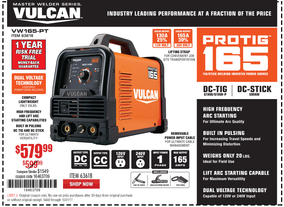 New Items - ProTIG™ 165 Welder with 120/240 Volt Input