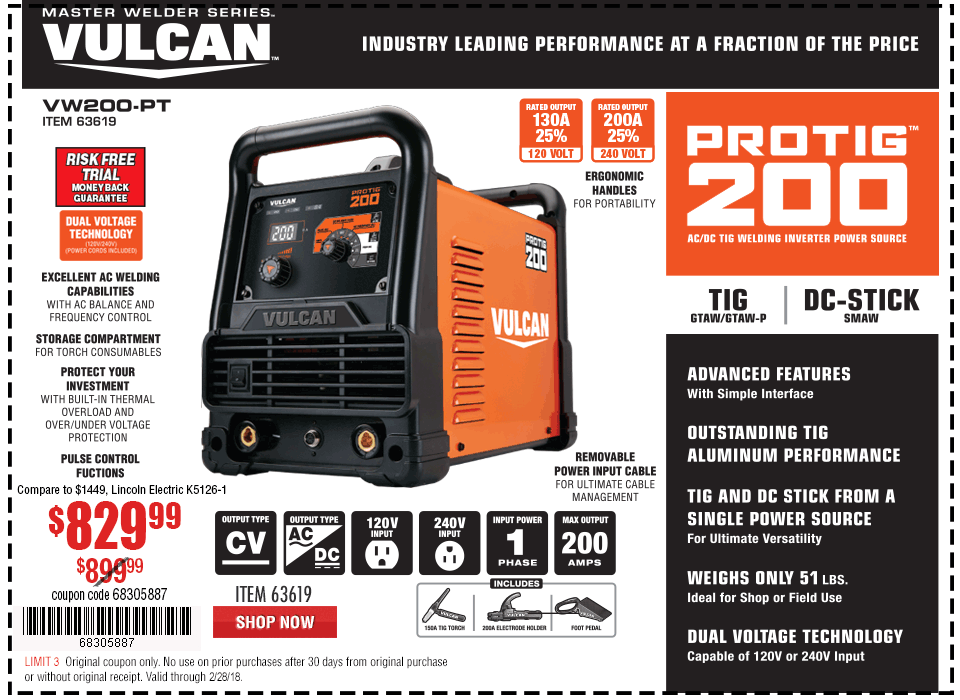 New Items - ProTIG™ 200 Welder with 120/240 Volt Input