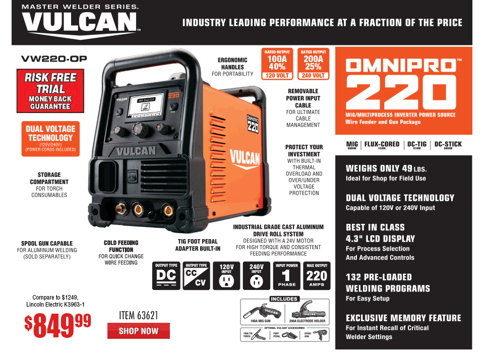 New Items - OmniPro™ 220 Multiprocess Welder with 120/240 Volt Input