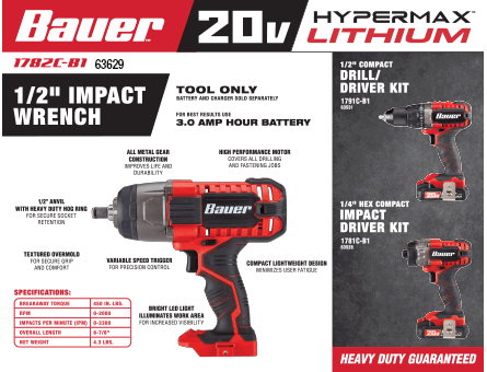 New Items - 1/2 in impact wrench