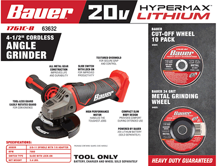 New Items - 20 Volt 4-1/2 in. Cordless Angle Grinder - Tool Only