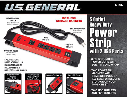 New Items - 5 Outlet Heavy Duty Magnetic Power Strip with Metal Housing