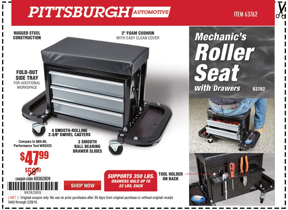 New Items - Mechanic's Roller Seat with Drawers