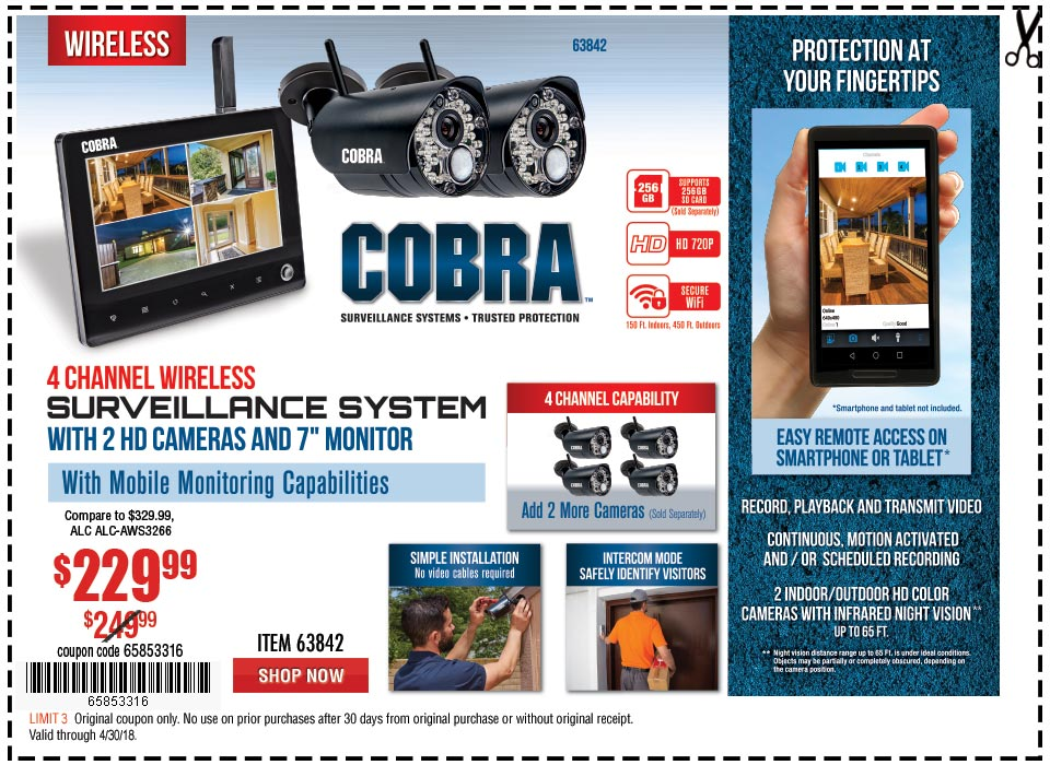 New Items - 4 Channel Wireless Surveillance System with 2 Cameras