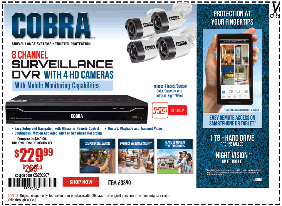 New Items - 8 Channel Surveillance DVR with 4 HD Cameras and Mobile Monitoring Capabilities