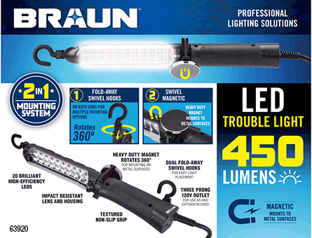 New Items - 450 Lumen LED Trouble Light