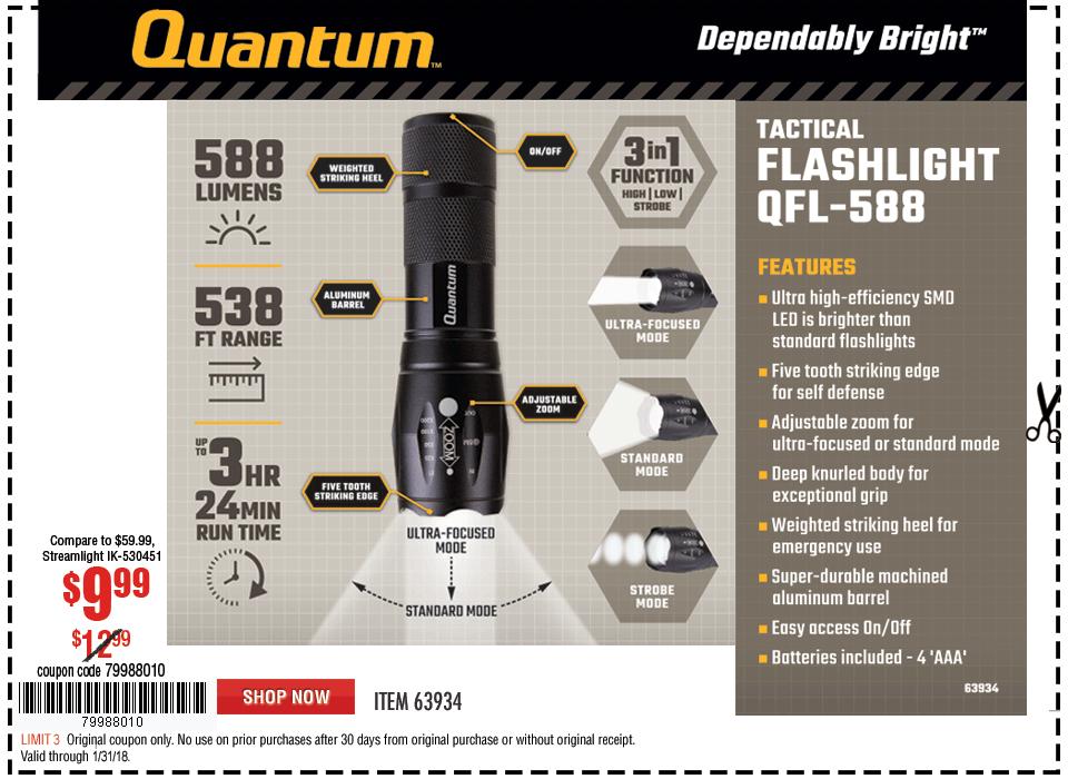 New Items - 588 Lumen Tactical Flashlight