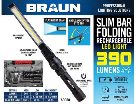 New Items - 390 Lumen Slim Bar Folding LED Worklight