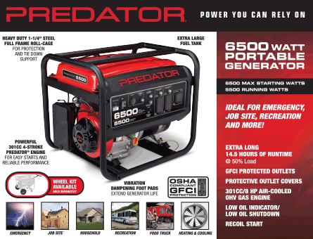 New Items - 6500 watt portable generator