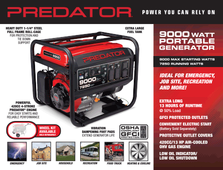 New Items - 9000 watt portable generator