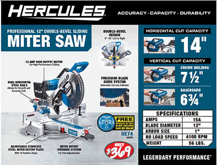New Items - 12 in Double-Bevel miter saw