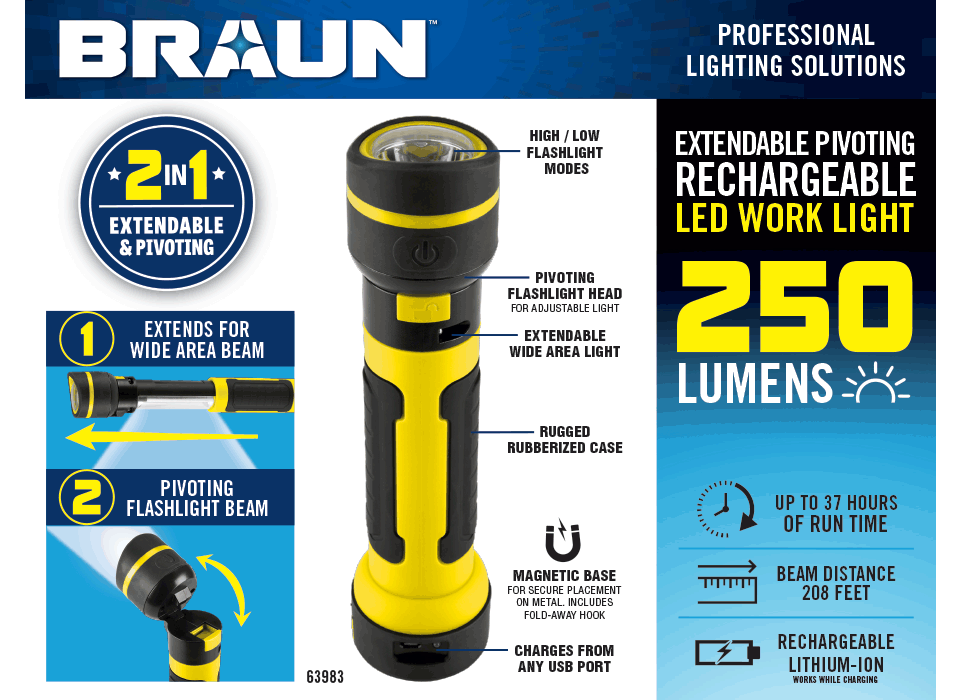 New Items - 2-In-1 Extendable 250 Lumen LED Rechargeable Work Lighth