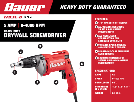 New Items - 5 Amp Heavy Duty Drywall Variable Speed Reversible Screwdriver