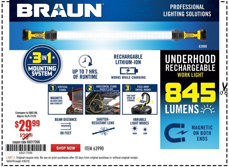 New Items - 845 Lumen Underhood  Rechargeable Work Light