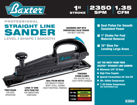 New Items - Straight Line Air Sander
