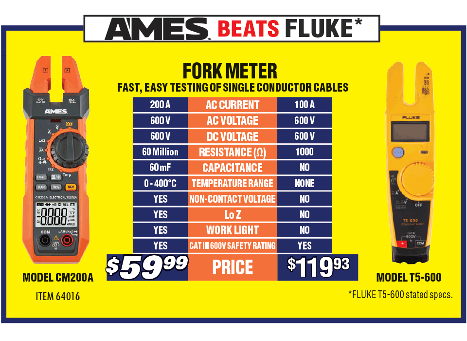 See whats new at harbor freight new items 200 a fork style clamp meter greentooth Images