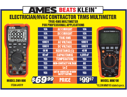 New Items - Electrician's HVAC Contractor TRMS Multimeter
