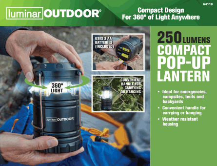 New Items - 250 Lumen Compact Pop-Up Lantern