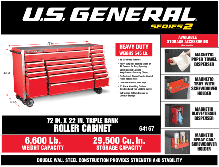New Items - 72 in roller cabinet
