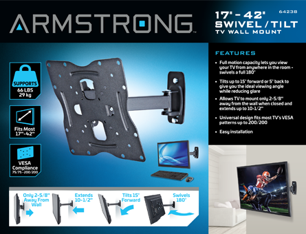 New Items - 17 in. to 42 in. Swivel/Tilt TV Wall Mount - Small TV