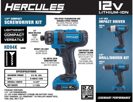New Items - Hercules Screwdriver Kit