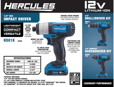 New Items - Hercules Impact Drive