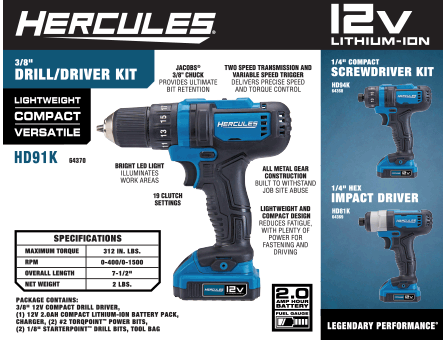New Items - Hercules Drill/Driver Kit