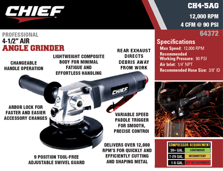 New Items - Chief Professional 4-1/2 Air Angle Grinder