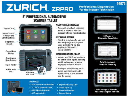 New Items - Zurich scanner tablet
