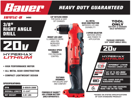 New Items - 20V Hypermax™ Lithium 3/8 in. Right Angle Drill
