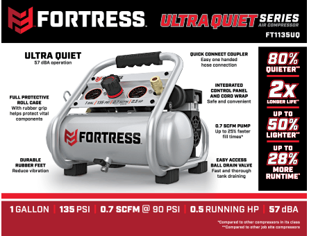New Items - 1 gallon 0.5 HP 135 PSI Ultra Quiet Oil-Free Professional Air Compressor