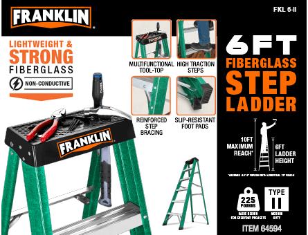 New Items -  6 Ft. Type II Fiberglass Step Ladder