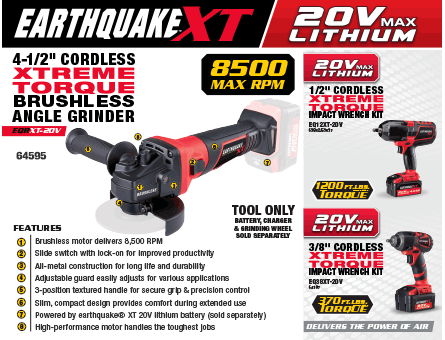 New Items - Earthquake Professional 4-1/2 Air Angle Grinder