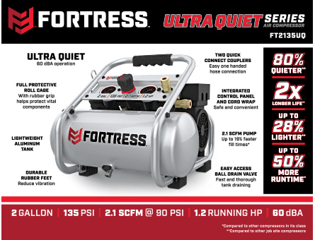 New Items - 2 gallon 1.2 HP 135 PSI Ultra Quiet Oil-Free Professional Air Compressor