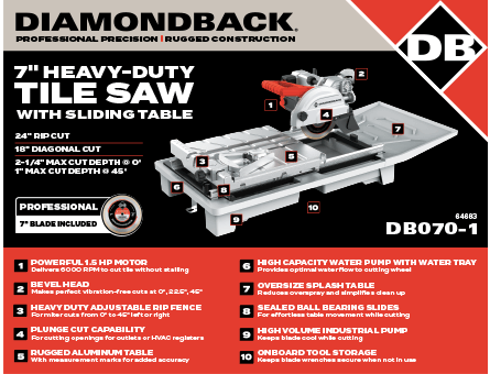 New Items - 7 inch heavy-duty tile saw