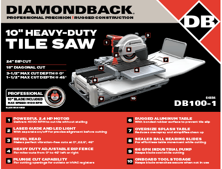 New Items - 10 inch heavy-duty tile saw