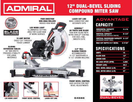 New Items - 12 in. Dual-Bevel Sliding Compound Miter Saw