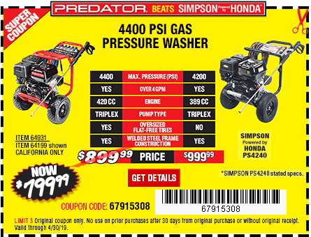 New Items - 4400 PSI, 4.2 GPM, 13 HP (420cc) Pressure Washer CARB