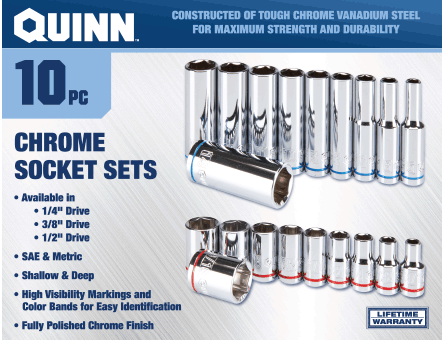New Items - Quinn chrome socket sets