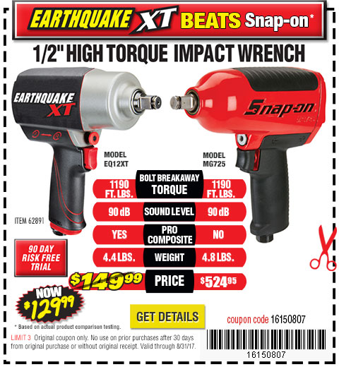 Earthquake XT beats Snap-on