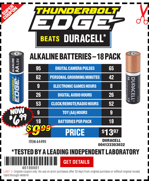 Thunderbolt Edge Alkaline Batteries