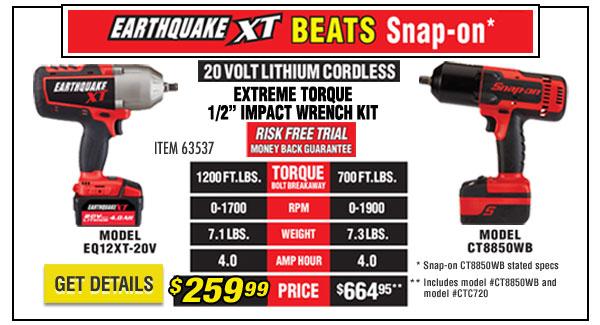 Earthquake XT beats Snap-on
