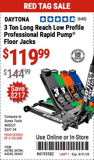 3 Ton Low Profile Professional Rapid Pump® Floor Jack