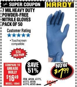 7 mil Nitrile Powder-Free Gloves 50 Pc